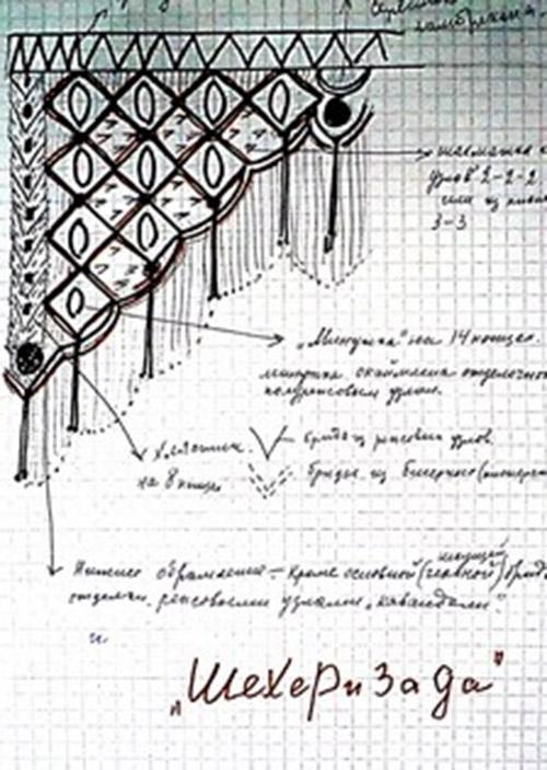 Макраме схемы плетения шторы на дверь