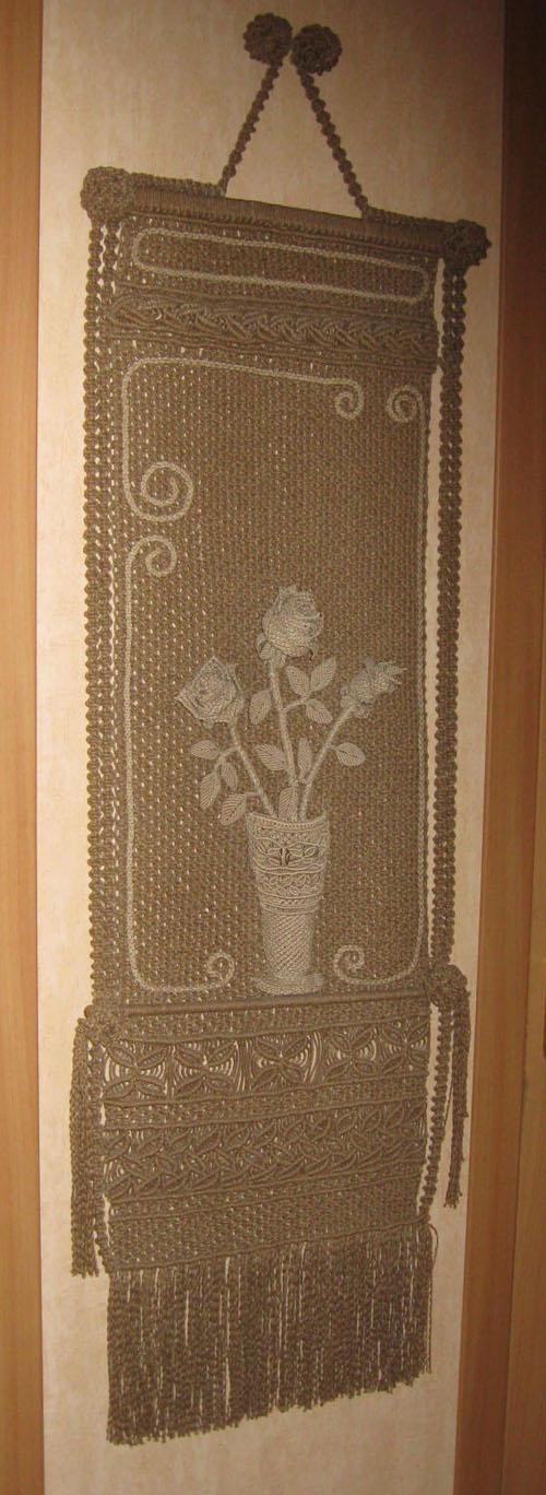 Панно макраме Розы.