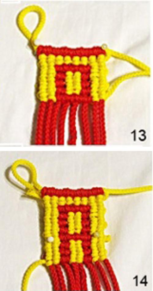 Плетение из красной нити