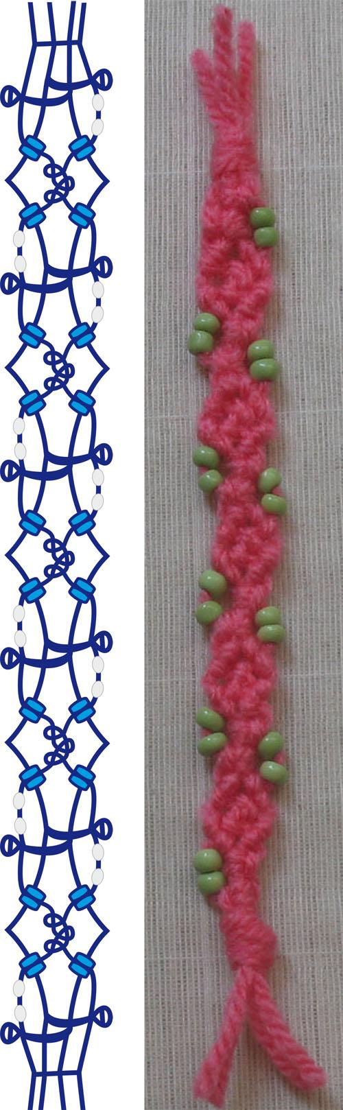 Макраме идея в виде розовой тесёмки с бисером.  В плетении использовала три узла.