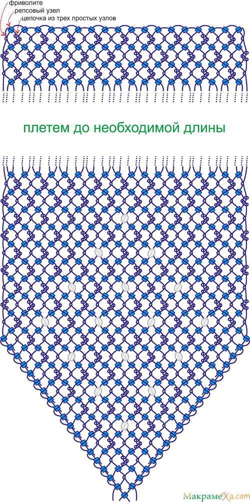 схема плетения. схема сумочки макраме.