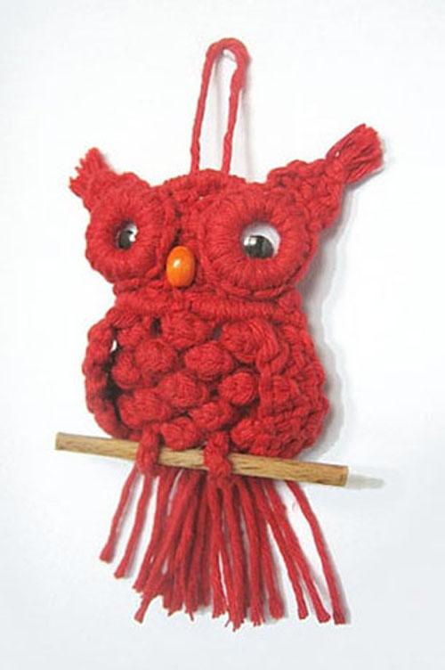 red macrame owl