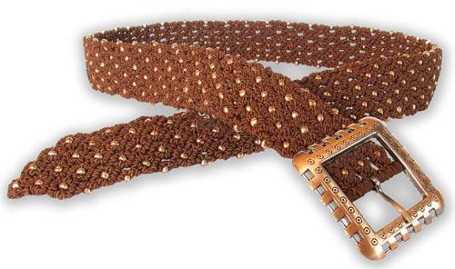 0. Пояс сплетён в технике макраме из сутажа теплого шоколадного цвета и...