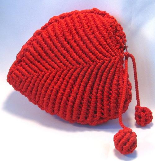 Макраме кошелек сердце, плетение, Жеглова Юлия.