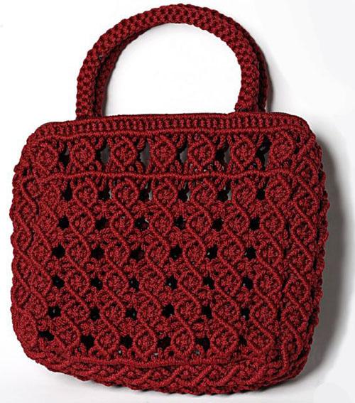 Бордовая сумочка, макраме