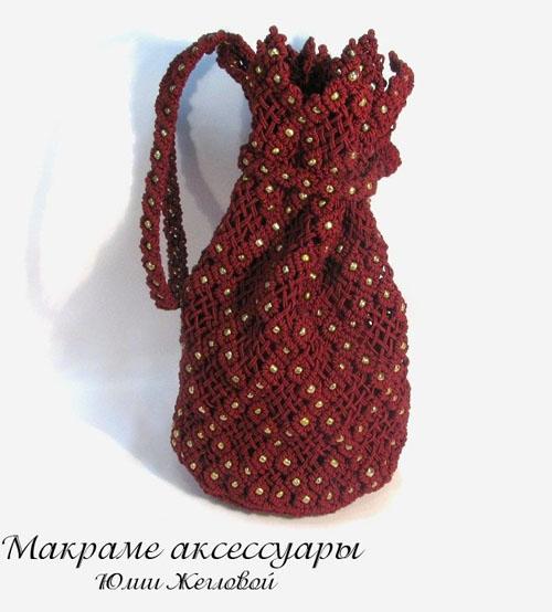 """...8. Женская сумочка  """"Золотая вишня """".  Изящная плетеная сумочка в..."""